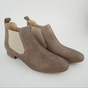 Barney's taupe snake embossed leather Chelsea boot